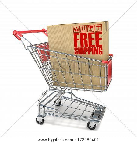 Red Shopping Cart With Cardboard Box And Free Shipping Sign 3D
