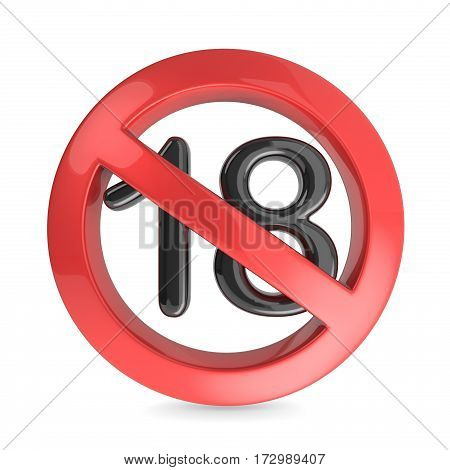 Adults Only Content Prohibition Sign. 3D