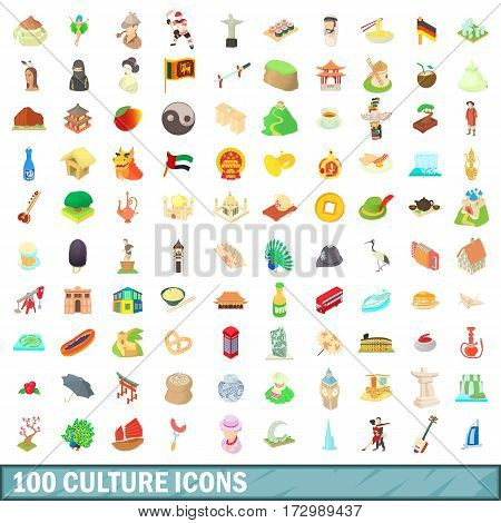 100 culture icons set in cartoon style for any design vector illustration