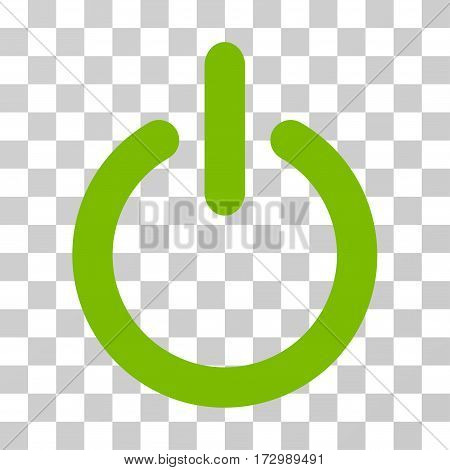 Turn Off vector pictogram. Illustration style is flat iconic eco green symbol on a transparent background.