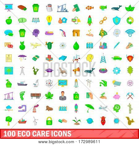 100 eco care icons set in cartoon style for any design vector illustration