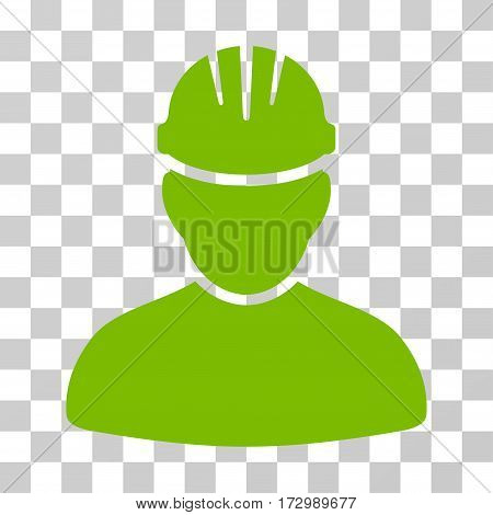 Worker Person vector icon. Illustration style is flat iconic eco green symbol on a transparent background.