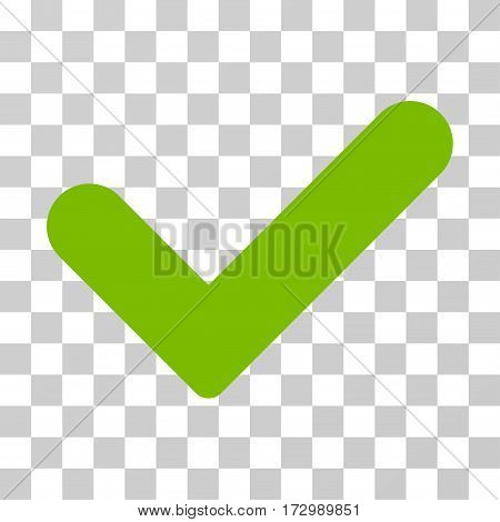 Yes vector pictogram. Illustration style is flat iconic eco green symbol on a transparent background.
