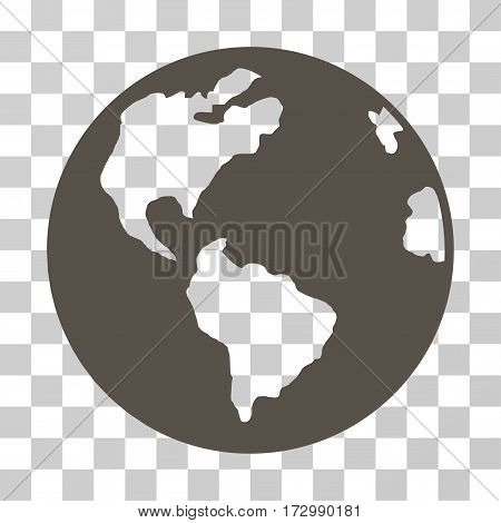 Planet Earth vector pictogram. Illustration style is flat iconic grey symbol on a transparent background.