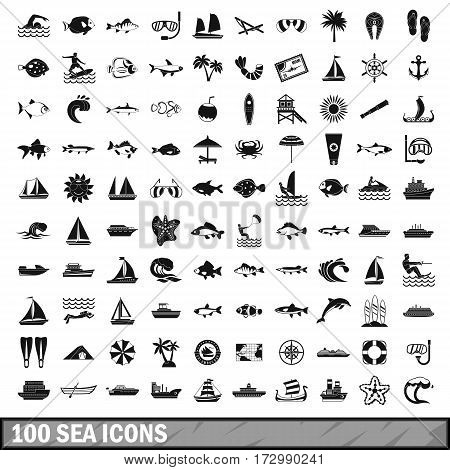 100 sea icons set in simple style for any design vector illustration
