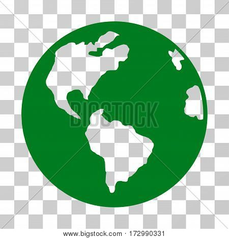 Planet Earth vector icon. Illustration style is flat iconic green symbol on a transparent background.