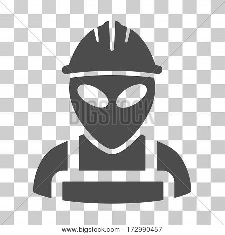 Alien Worker vector icon. Illustration style is flat iconic gray symbol on a transparent background.