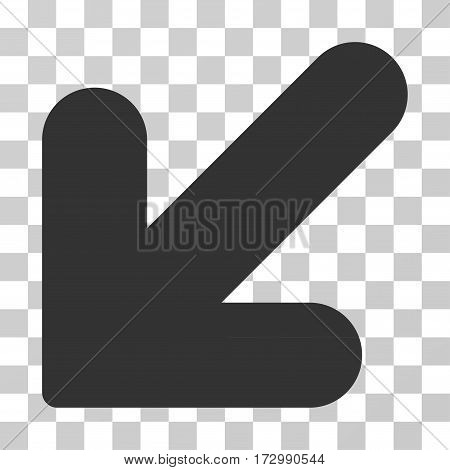 Arrow Down Left vector icon. Illustration style is flat iconic gray symbol on a transparent background.