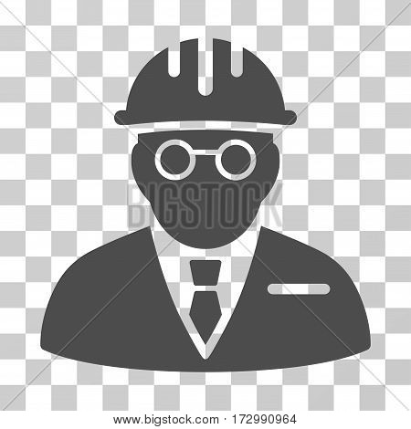 Blind Engineer vector icon. Illustration style is flat iconic gray symbol on a transparent background.