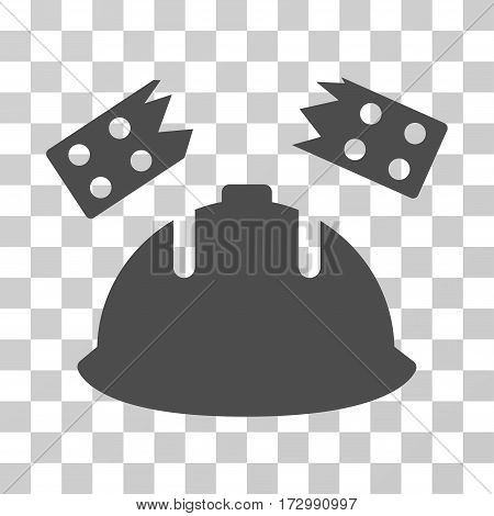 Brick Helmet Accident vector pictogram. Illustration style is flat iconic gray symbol on a transparent background.