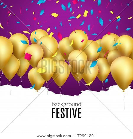 Vector happy birthday card with golden balloons and confetti, party invitation