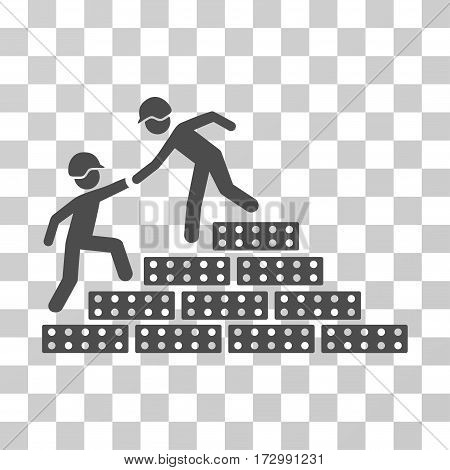 Builder Stairs Help vector pictogram. Illustration style is flat iconic gray symbol on a transparent background.