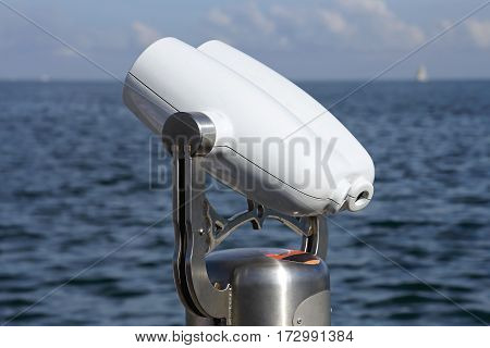 Coin Operated Tower Viewer Binoculars at Sea Shore