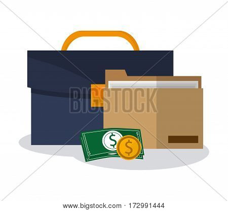 briefcase, money and document folder icon over white background. colorful design. vector illustration