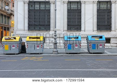 Separate Recycling Bins for Municipal Garbage Collection