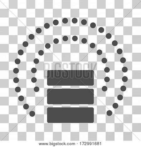 Database Sphere Shield vector pictogram. Illustration style is flat iconic gray symbol on a transparent background.