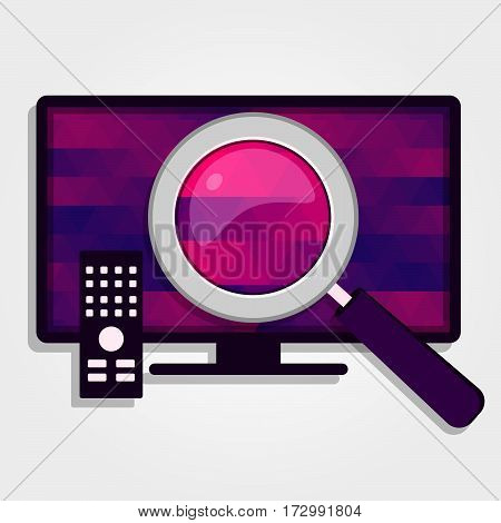 Magnifying glass enlarge the colorful screen of a TV.
