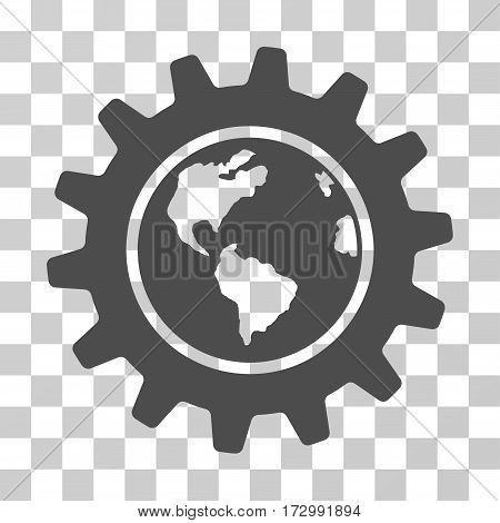 Earth Engineering vector pictograph. Illustration style is flat iconic gray symbol on a transparent background.
