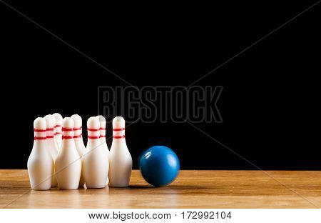 Bowling Pins And Bowling Ball In Miniature