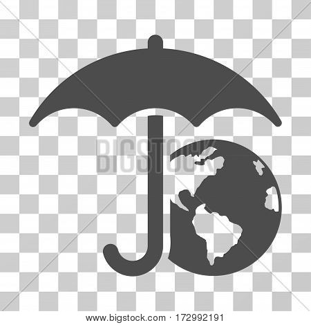 Earth Umbrella vector icon. Illustration style is flat iconic gray symbol on a transparent background.