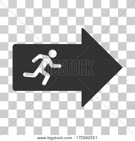Exit Arrow vector pictograph. Illustration style is flat iconic gray symbol on a transparent background.