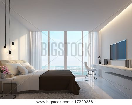 Modern white bedroom with sea view 3d rendering image.Decorated with hidden warm light white furniture. There are large windows Looking to beautiful sea view