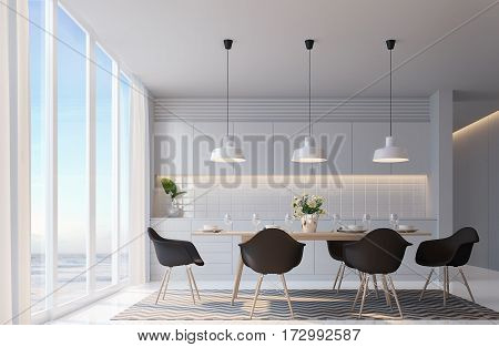 Modern white dining room with sea view. 3d rendering image,  warm light black furniture. There are large windows Looking to beautiful sea view