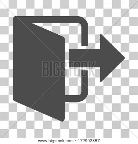 Exit Door vector icon. Illustration style is flat iconic gray symbol on a transparent background.