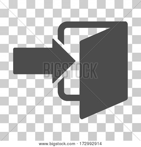 Exit Door vector pictograph. Illustration style is flat iconic gray symbol on a transparent background.
