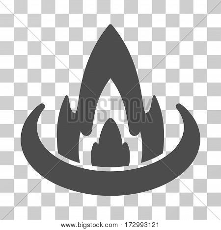 Fire Location vector icon. Illustration style is flat iconic gray symbol on a transparent background.