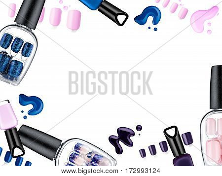 Beautiful false nails, nail polish sample, frame for text, isolated on white background