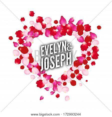 Rose petals heart Beautiful wedding invitation vector design template card.