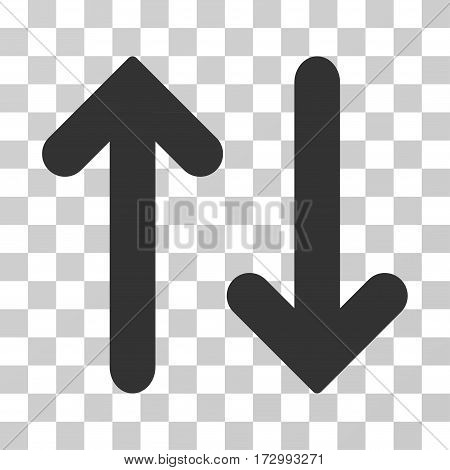 Flip Vertical vector pictograph. Illustration style is flat iconic gray symbol on a transparent background.