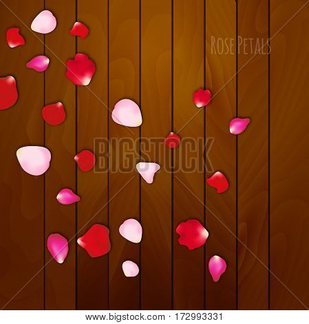 Realistic rose petals on wooden background, Valentines day card. Love floral background.
