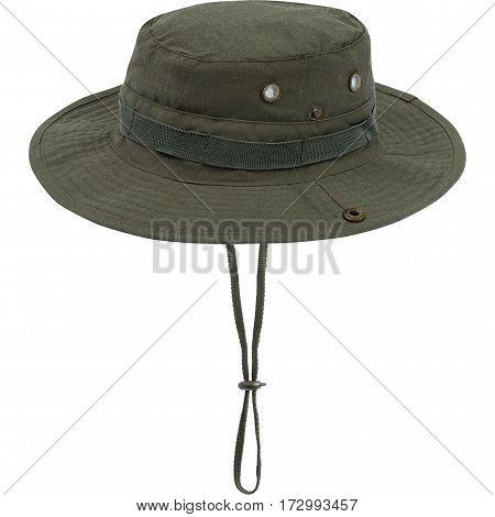 Military cap, khaki helmet, isolated white background