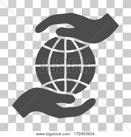 Global Insurance vector pictogram. Illustration style is flat iconic gray symbol on a transparent background.