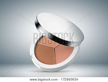 face powder, gray-blue background with white spot