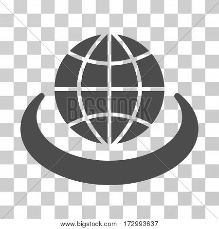Global Network vector pictograph. Illustration style is flat iconic gray symbol on a transparent background.