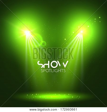Spotlights empty scene. Illuminated stage design. Show background with lights special effect.