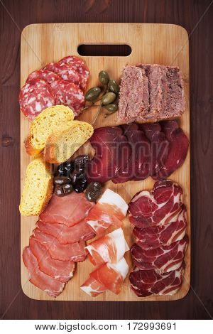 Charcuterie board with cured meats, bread and olives