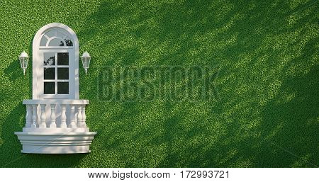 White balcony on green wall 3d rendering image. White balcony Classic Style on Green Wall with ivy There is Tree shadow across the wall
