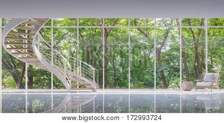Spiral stair in the glass house 3D rendering image. Surrounded by nature. Large windows Looking to experience nature up close.