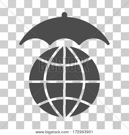 Global Umbrella vector pictogram. Illustration style is flat iconic gray symbol on a transparent background.