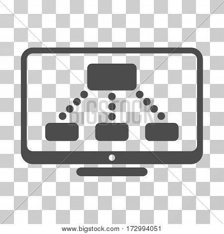 Hierarchy Monitor vector pictograph. Illustration style is flat iconic gray symbol on a transparent background.