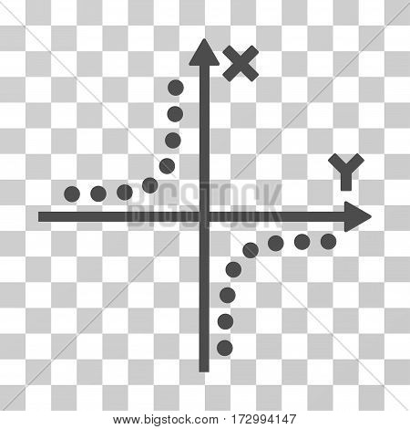 Hyperbola Plot vector icon. Illustration style is flat iconic gray symbol on a transparent background.