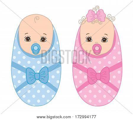 Vector newborn, baby boy, baby girl, twins, it's a boy, it's a girl