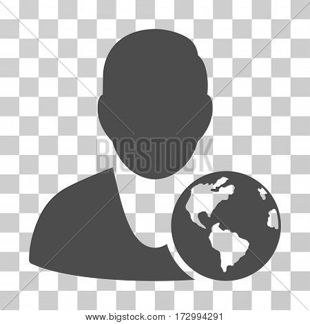 International Manager vector icon. Illustration style is flat iconic gray symbol on a transparent background.