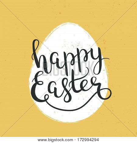 Happy Easter hand-drawn lettering decoration text, design template for greeting cards, invitations, banners, gifts, prints and posters, background with calligraphic inscription, grunge effect can be removed. EPS8.