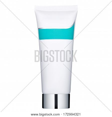 Tube with a cream for hands and face, isolated on white background