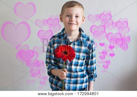 A Boy Giving A Flower